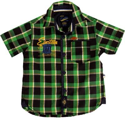 Einstein Boy's Checkered Casual Green, Black Shirt