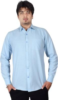 Kartier Men's Solid Casual Light Blue Shirt