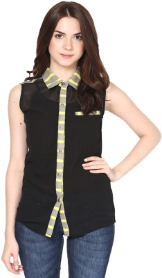 Eavan Women's Solid Casual Black, Grey Shirt at flipkart