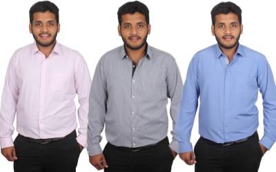 Maharaja Men's Checkered, Solid, Striped Formal Pink, Black, Blue Shirt