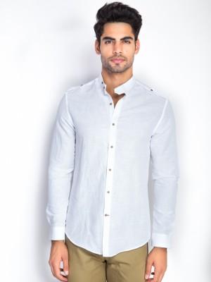 Mr Button Men's Solid Casual Linen White Shirt