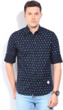Lee Men's Printed Casual Dark Blue Shirt