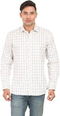 Don Vino Men's Checkered Casual White, Beige, Black Shirt