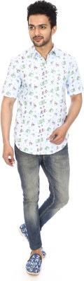 Kalaa Men's Printed Casual White Shirt