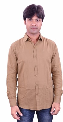 Henry Club Men's Solid Casual Beige Shirt