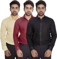 Deekshavastra Formal Shirts (Men's) - Deekshavastra Men's Solid Formal Black Shirt(Pack of 3)
