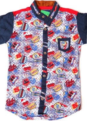 Kidicious Boy's Printed Casual Red, Blue, White Shirt