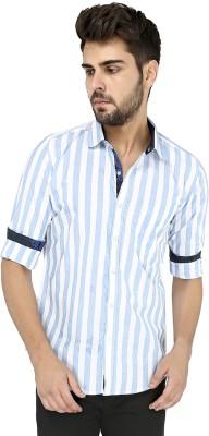 Zoro Auge Men's Striped Casual Blue, White Shirt