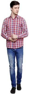 Romanfox Men's Checkered Casual Blue Shirt