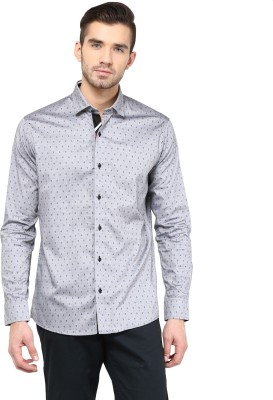 Invern Men's Printed Casual Grey Shirt