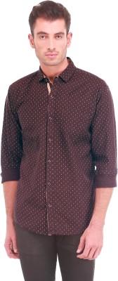 Sleek Line Men's Printed Casual Brown Shirt