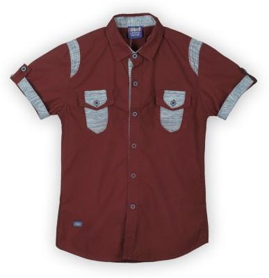 Lilliput Boy,s Solid Casual Maroon Shirt