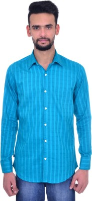 Snoby Men's Striped Casual Blue Shirt