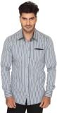 Ramarrow Men's Striped Casual Grey Shirt