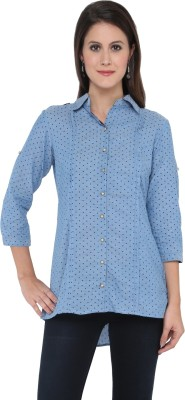 Goddess Women Women's Polka Print Casual Blue Shirt