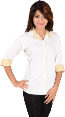 Jazzy Ben Women,s Solid Casual White, Beige Shirt