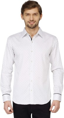 Mayank Modi Men's Printed Casual White Shirt