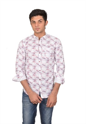 Suzee Men's Printed Casual White, Red Shirt