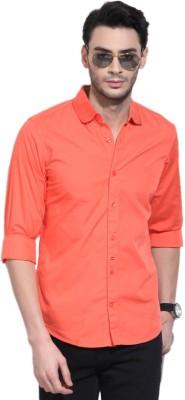 Sttoffa Men's Solid Formal Orange Shirt
