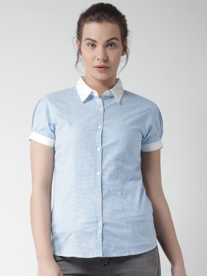 Mast & Harbour Women's Checkered Casual Blue Shirt