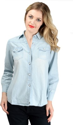 Pink Lace Women's Solid Casual Blue Shirt