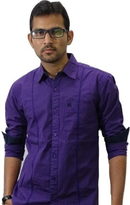Shield & Sword Men's Self Design Casual Purple Shirt