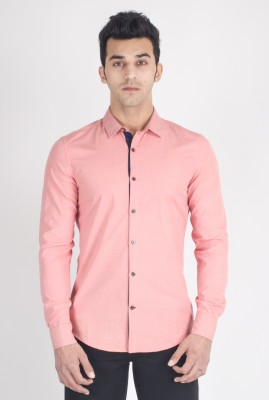 Suchos Men's Solid Casual Pink Shirt