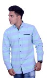 Yomaa Men's Striped Casual Blue Shirt