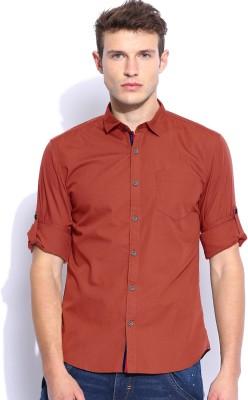 Zavlin Men,s Solid Casual Brown Shirt