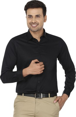 Wills Lifestyle Men's Solid Formal Black Shirt
