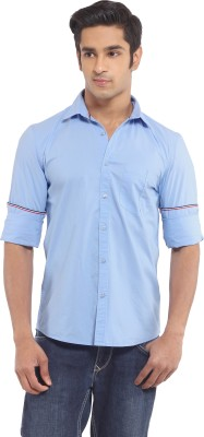 I-Voc Men,s Solid Casual Light Blue Shirt