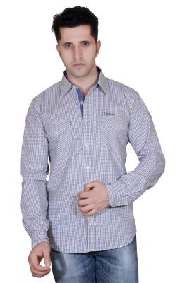 Denimize Men's Checkered Casual Beige Shirt