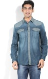 Lee Men's Solid Casual Denim Blue Shirt