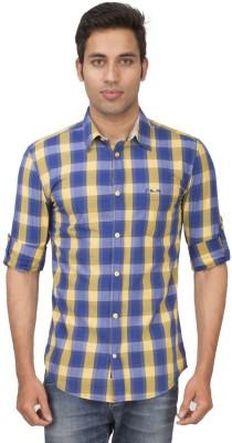 Truccer Basics Men's Checkered Casual Yellow Shirt