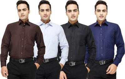 Yuva Men's Solid Formal Brown, Light Blue, Black, Dark Blue Shirt