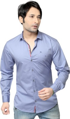 REDOX Men's Solid Casual Blue Shirt