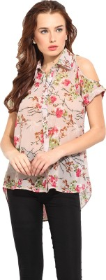 Blue Sequin Women's Floral Print Casual Pink Shirt