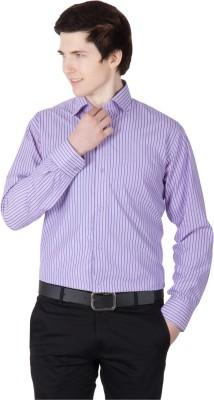 Robin Rider Men's Striped Casual Maroon Shirt