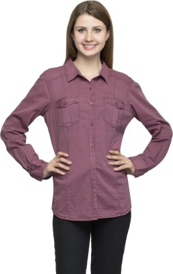 One Femme Women's Solid Formal Maroon Shirt