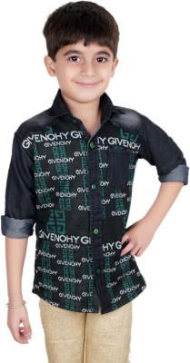 Ice Blue Boy's Graphic Print Casual Green Shirt