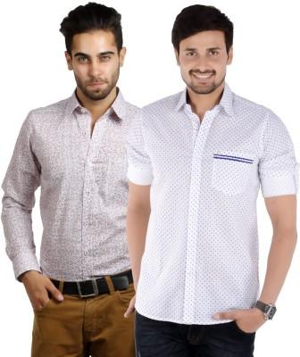 S9 Men's Printed Casual, Festive, Formal White, Maroon, White, Blue Shirt