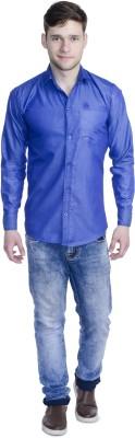 Aligatorr Men's Solid Formal Blue Shirt