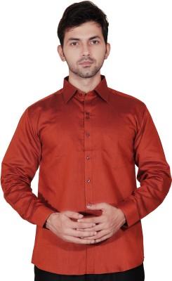 Fabrobe Men's Self Design Formal Red Shirt