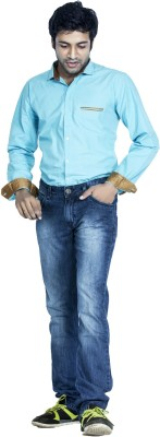 Bombay Casual Jeans Men's Solid Casual Light Blue Shirt