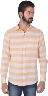 Klub Fox Men's Striped Casual Orange Shirt