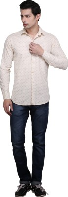 Custom Paid Men's Printed Casual Beige Shirt