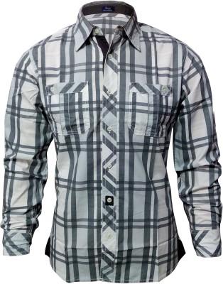 Sagi Men's Checkered Casual Grey, White Shirt