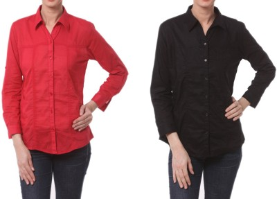 Meow Women's Solid Formal Red, Black Shirt