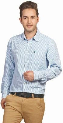 P4 Men's Striped Casual Blue Shirt