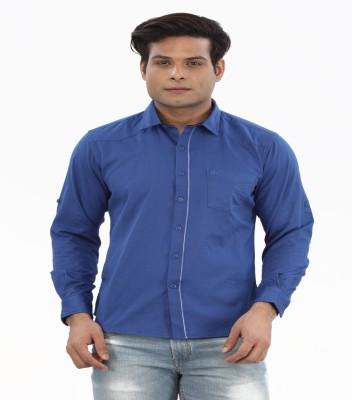 Moustache Men's Solid Casual Blue Shirt